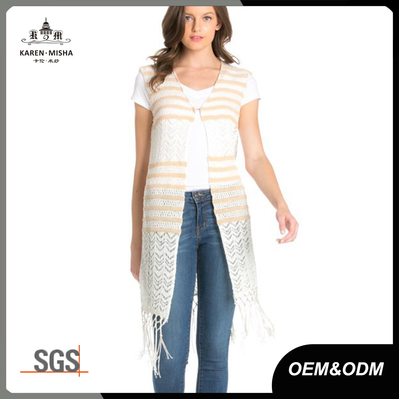 Women Fringed Open Knit Vest Cardigan