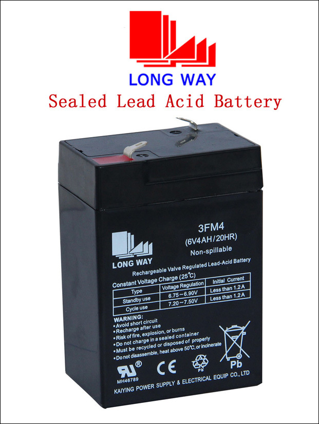 6V4ah Emergency Lighting Sealed Rechargeable Lead Acid Battery
