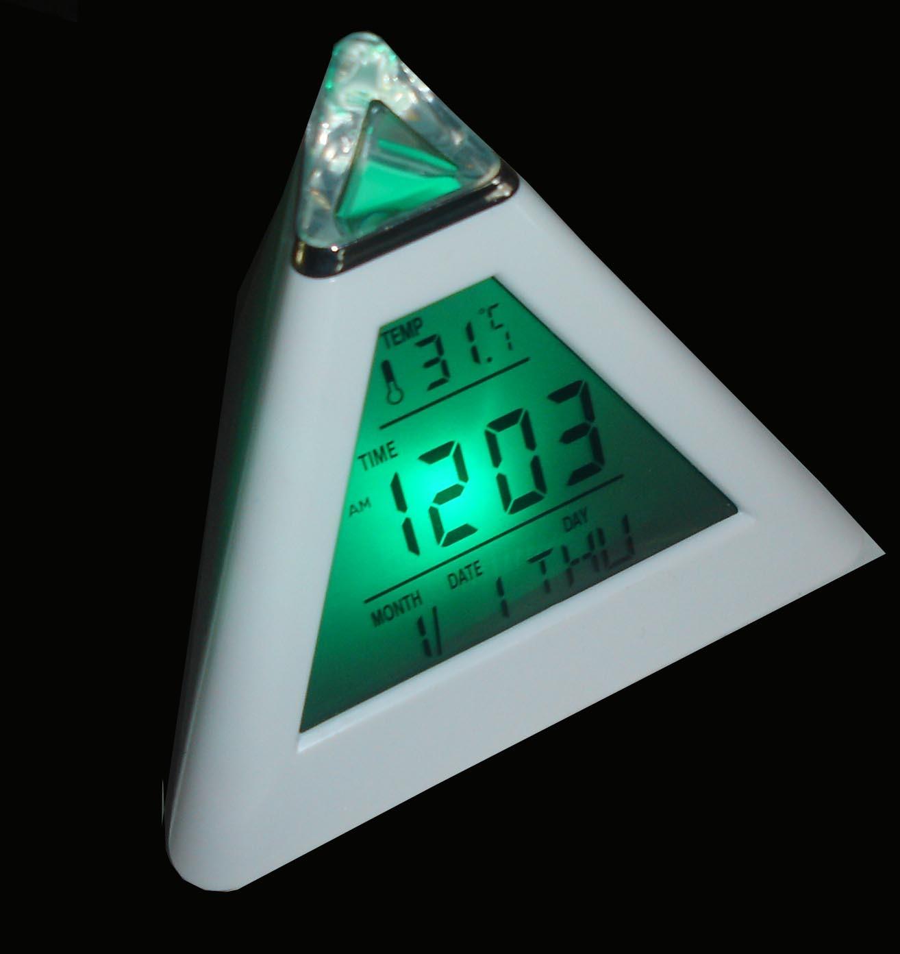 Pyramid Shape Multifunction LCD Clock (IP-H503)