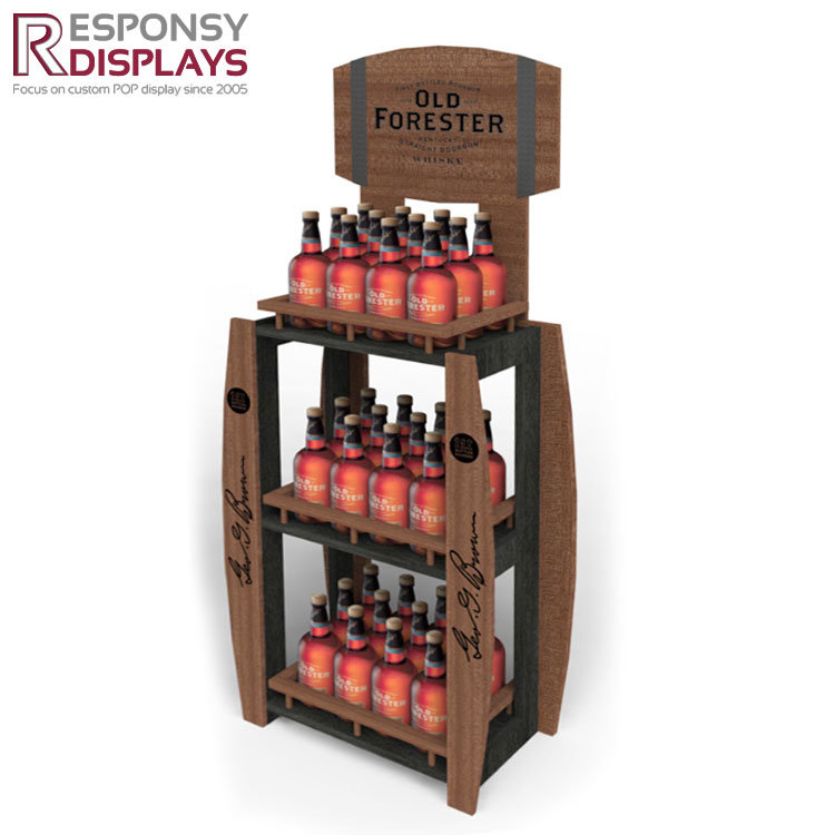 Customized Wood Floor Beer Display Stand Wine Display Shelf