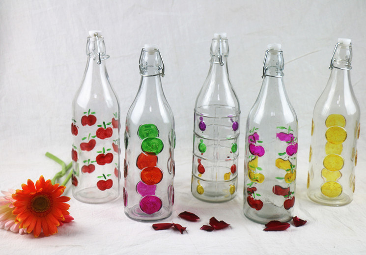 Fruit Patterned Glass Beverage/Juice/Water Bottle with Swing/Flip Top