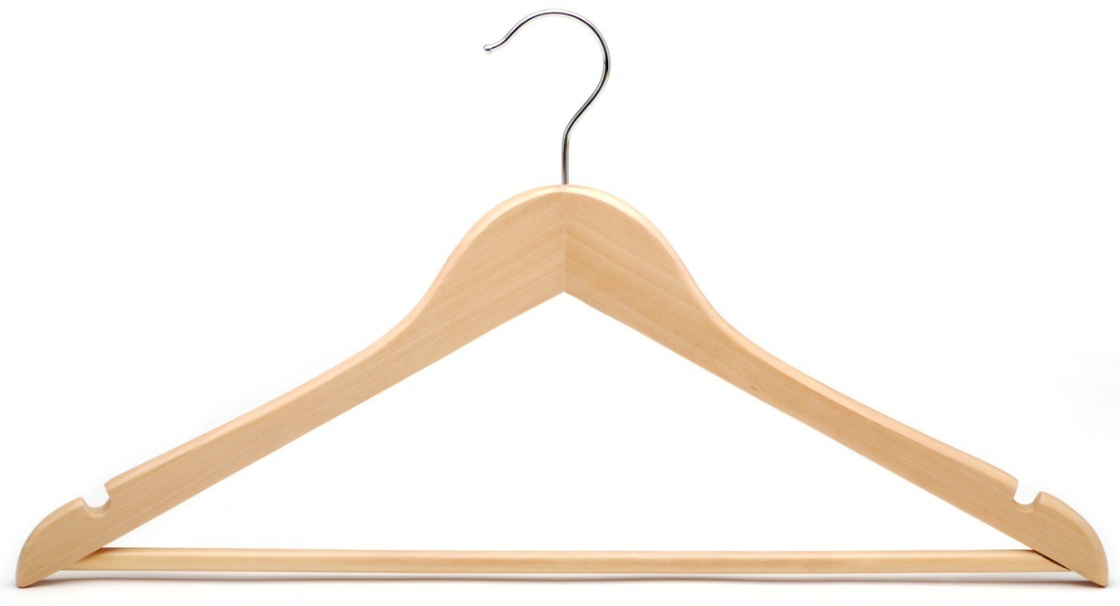 Pack of 20 natural finish wooden hangers with degree rotating feature. High Grade Lotus Wooden Hangers – pack - Solid Wood Suit Hanger With Extra Smooth Finish, Degree Swivel Hook Non-Slip Bar and Precisely Cut Notches for Coat, Jacket, Pants, and Dress Clothes. by ZOBER.