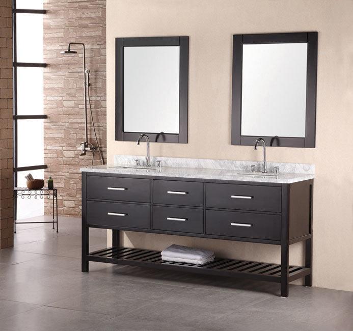 China New Style Double Sink Wood Bathroom Vanity MJ 3013 China Wood Bathr