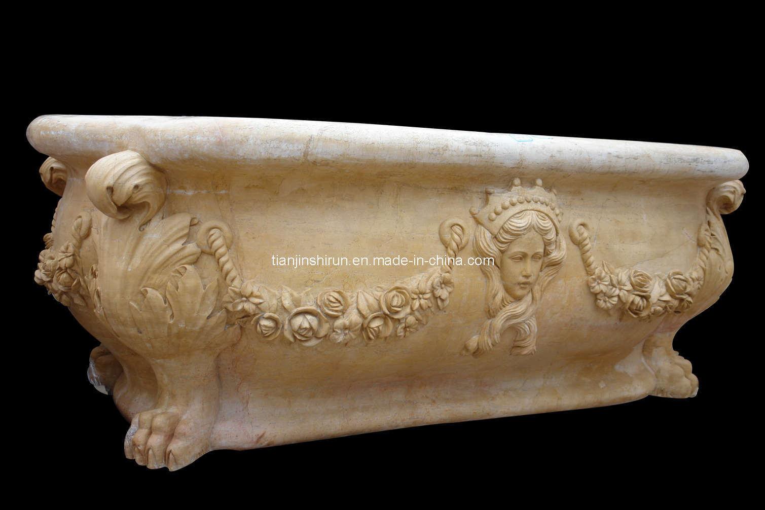 Vasca da bagno di pietra di scultura di marmo gialla - Vasca da bagno in pietra ...