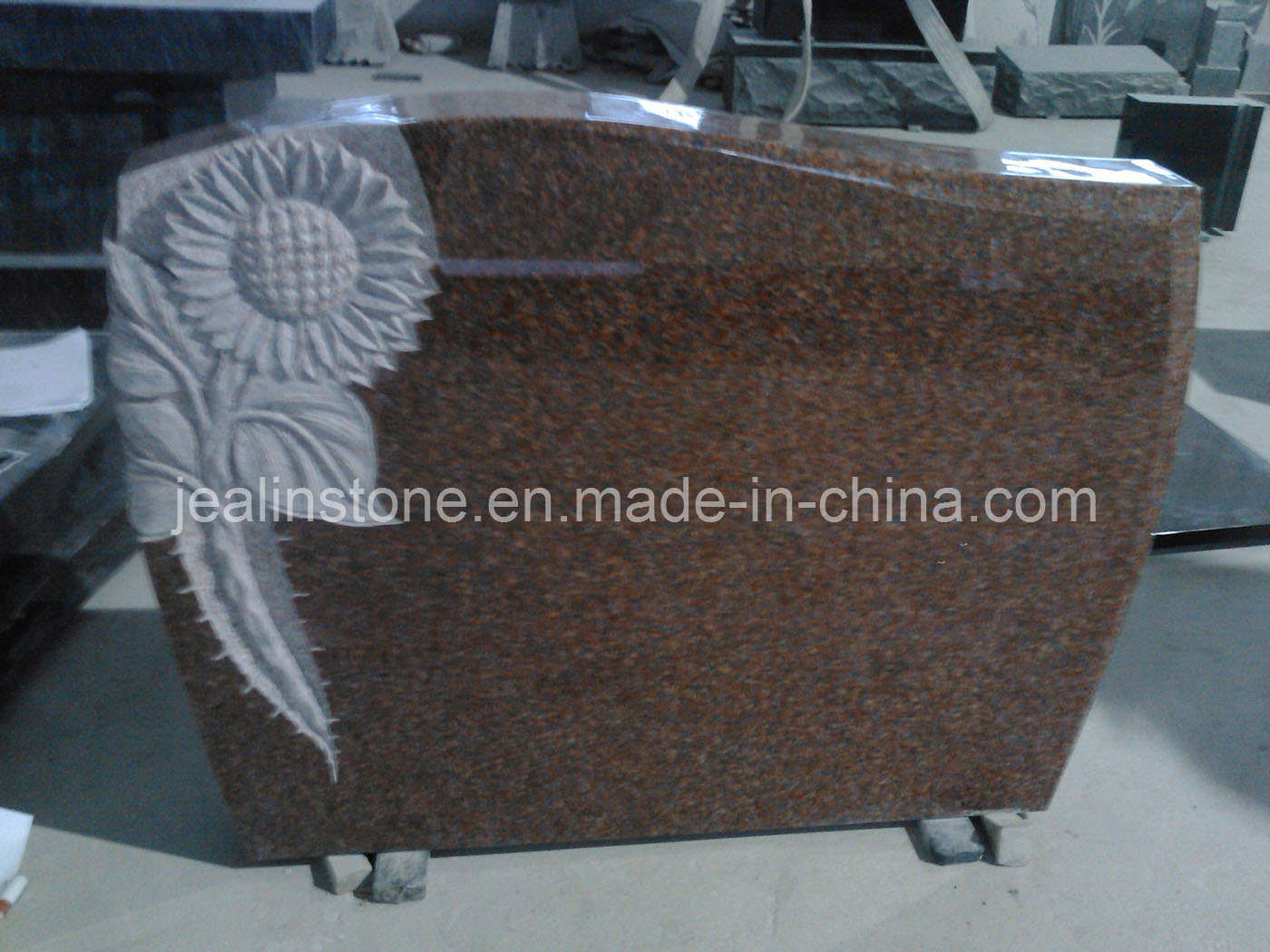 Red Granite Headstones : China red granite headstone with sunflower carving