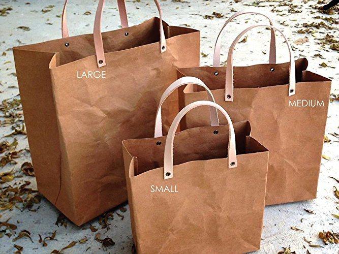 Washable Paper Bag Handbag Simple Style Reusable Kraft Grocery Bag