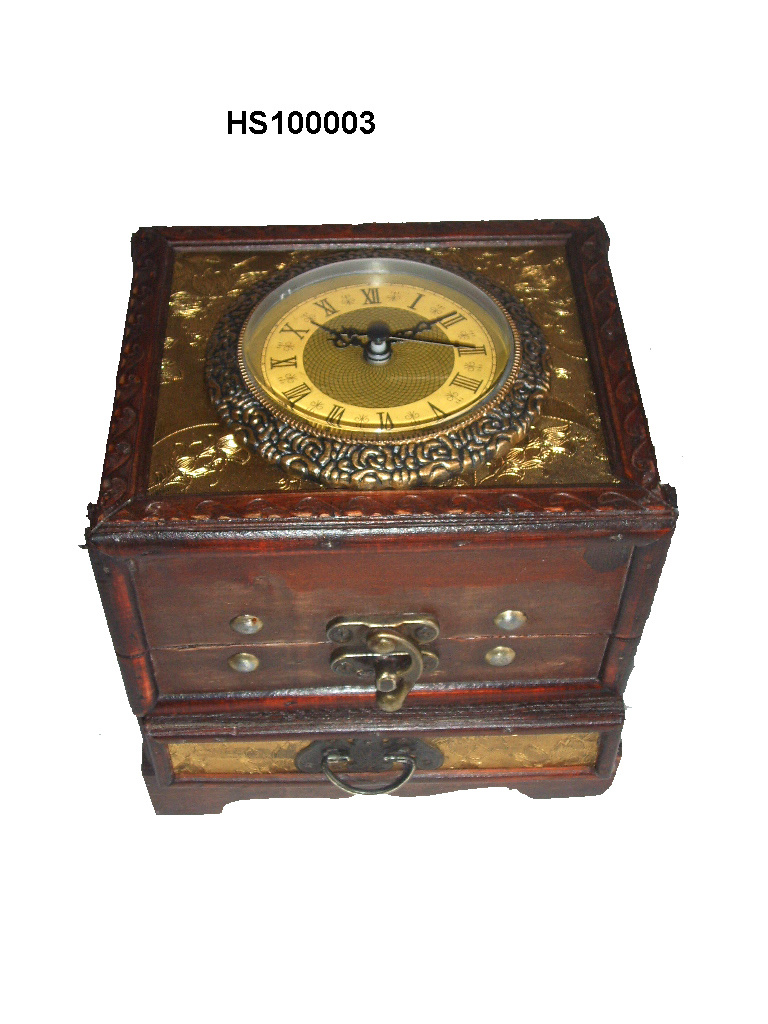 China antique wooden chest with clock hs100003 china for Small clocks for crafts