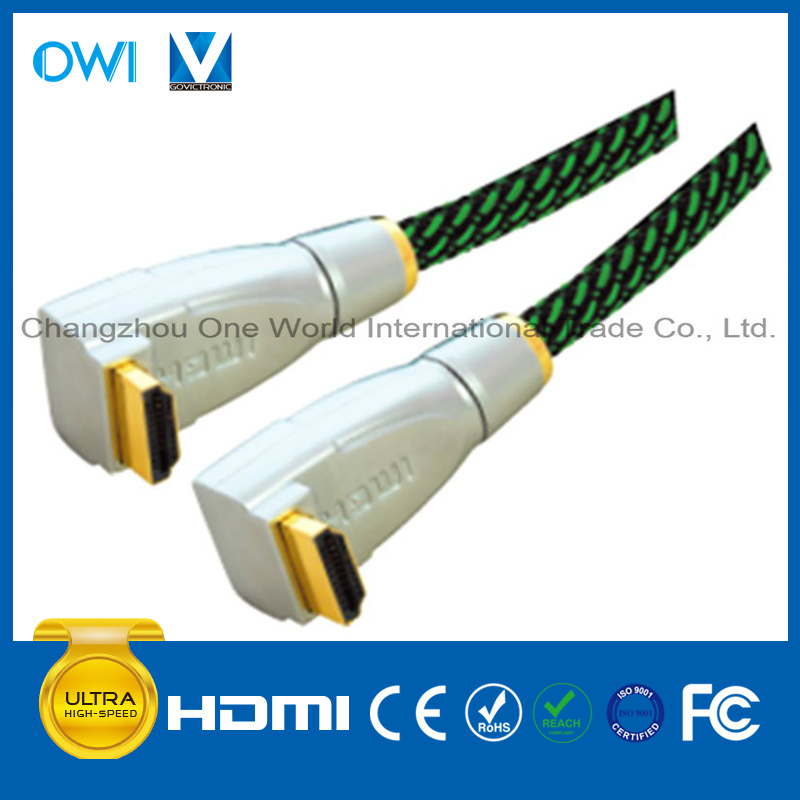 Metal Assembly Right Angle HDMI 19pin Plug to Plug Cable