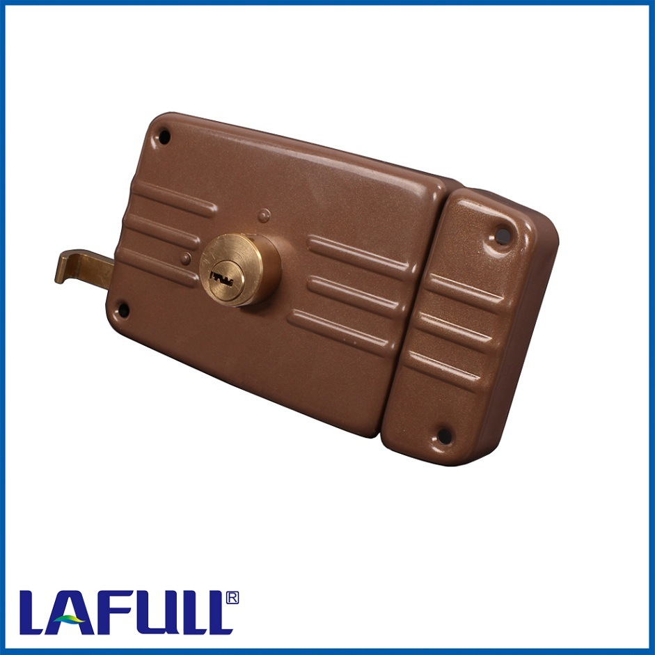 9710-12b Iron Lock Case Brass Cylinder Door Rim Lock