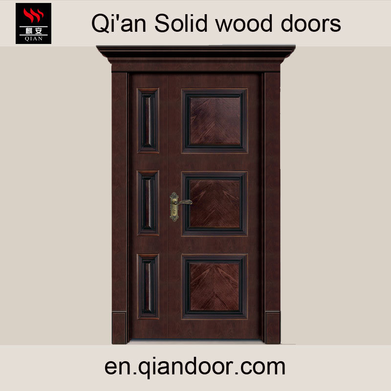 Luxury Villa Double-Leaf Solid Wood Main Door with Door Head