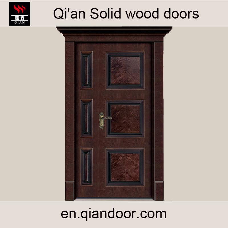 Villa Double-Leaf Solid Wood Main Door with Door Head