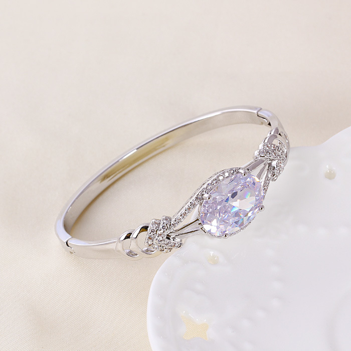 Chinese Wholesale New Xuping Fashion Rhodium Diamond - Plated Bangle