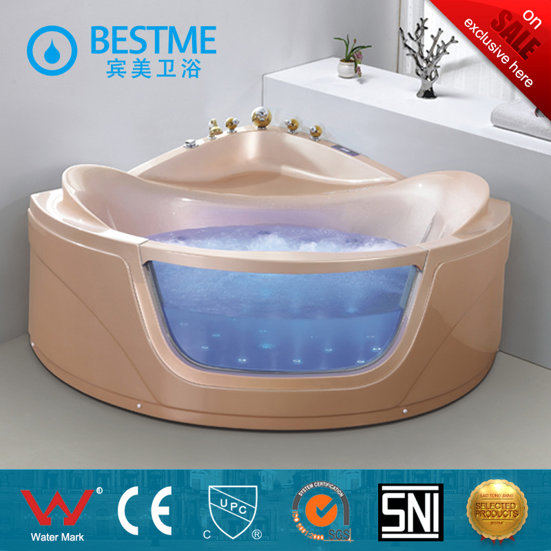 Top Selling Crystal Pink Color Indoor Massage Bathtub (BT-A324)