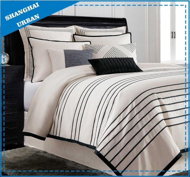 Navy Thread Embroidery Duvet Cover 100% Cotton Bedding Set