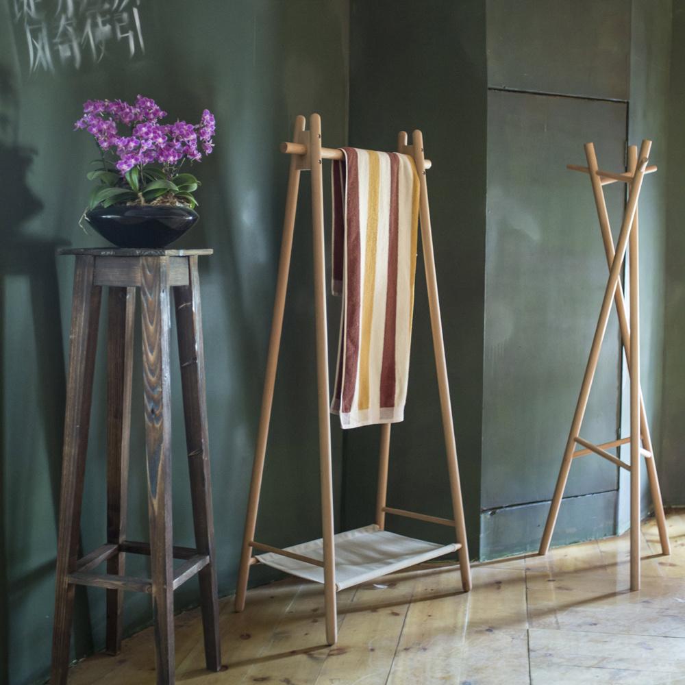 Cloth Beech Standing Hanger Wooden Coat Rack