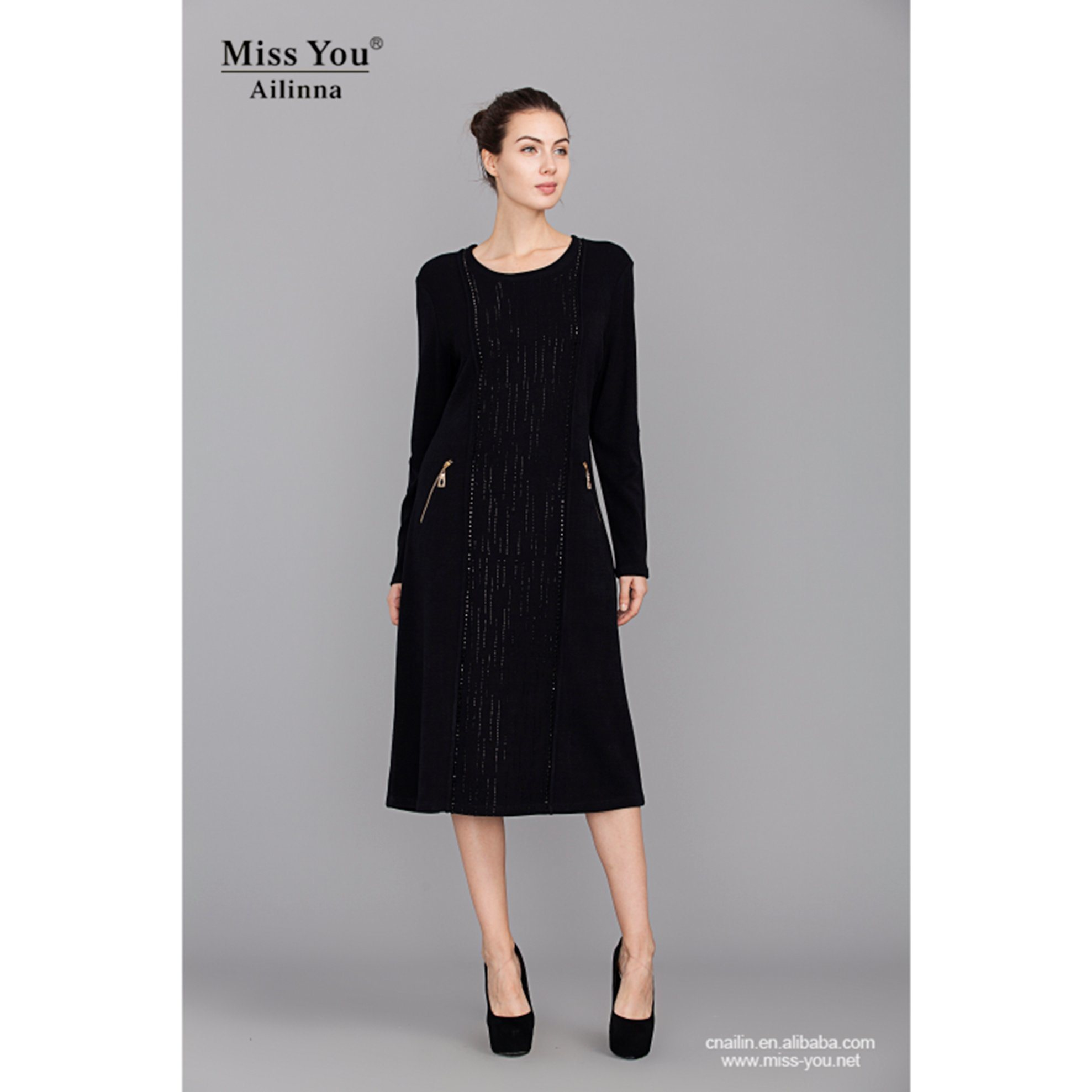 Miss You Ailinna 780163 Ladies Long Black Dress Wool Warm Dress