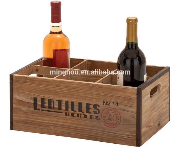 Customized Logo 6 Bottle Wooden Box of Wine Bottle