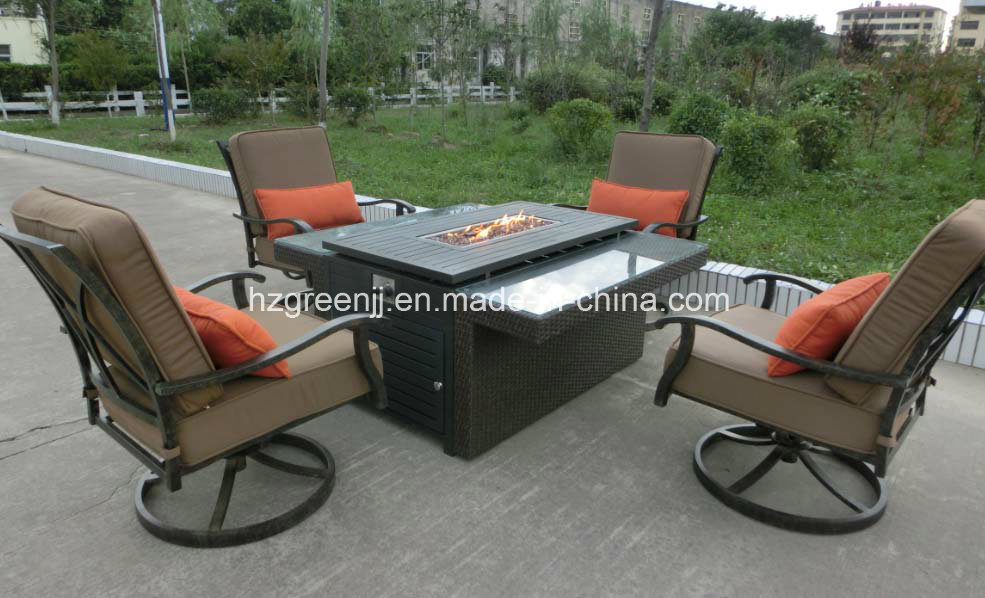 Swivel Sofa Fire Pit 5 Pieces Garden Weave Furniture