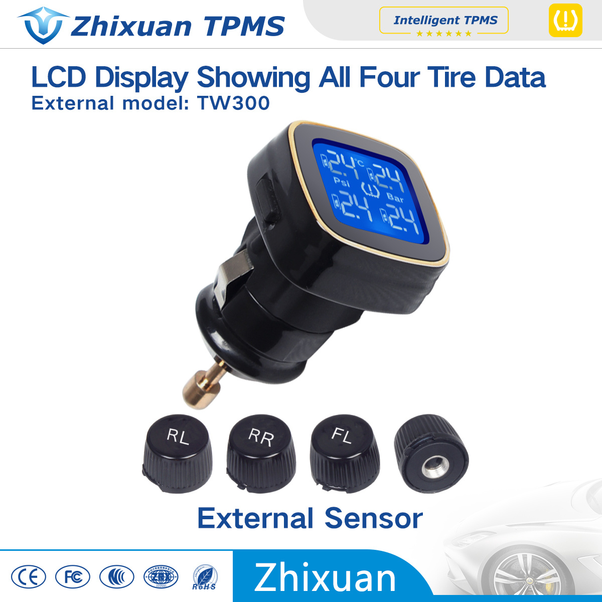 Cigar Lighter TPMS Tire Pressure Monitor Internal Auto Parts Tyre Pressure Car Safety TPMS