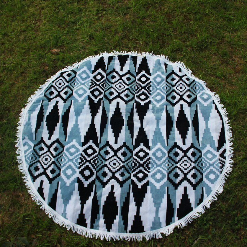 Indian Mandala Roundie Throw Tapestry Cotton Jacquard Round Beach Towels