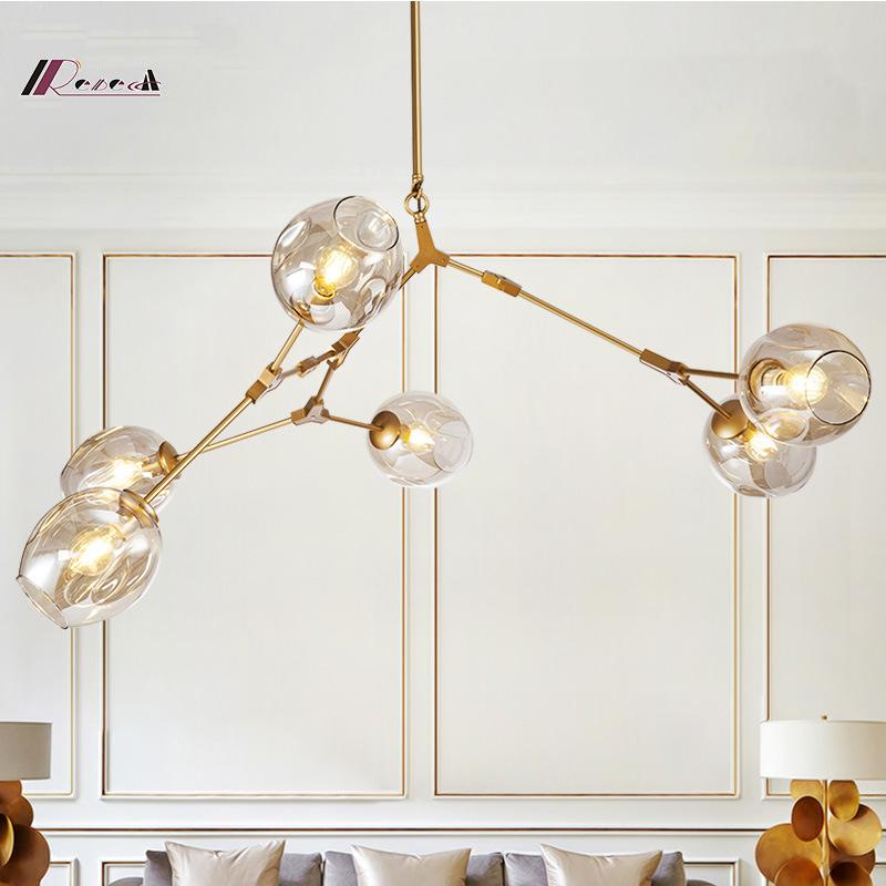 Modern Five Lights Glass Chandelier Lighting with Metal Base for Hotel