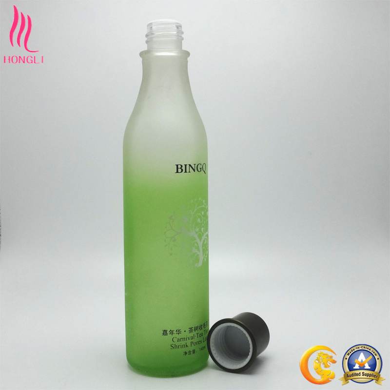 Fancy Green Printed Glass Bottle for Shrink Pores Lotion