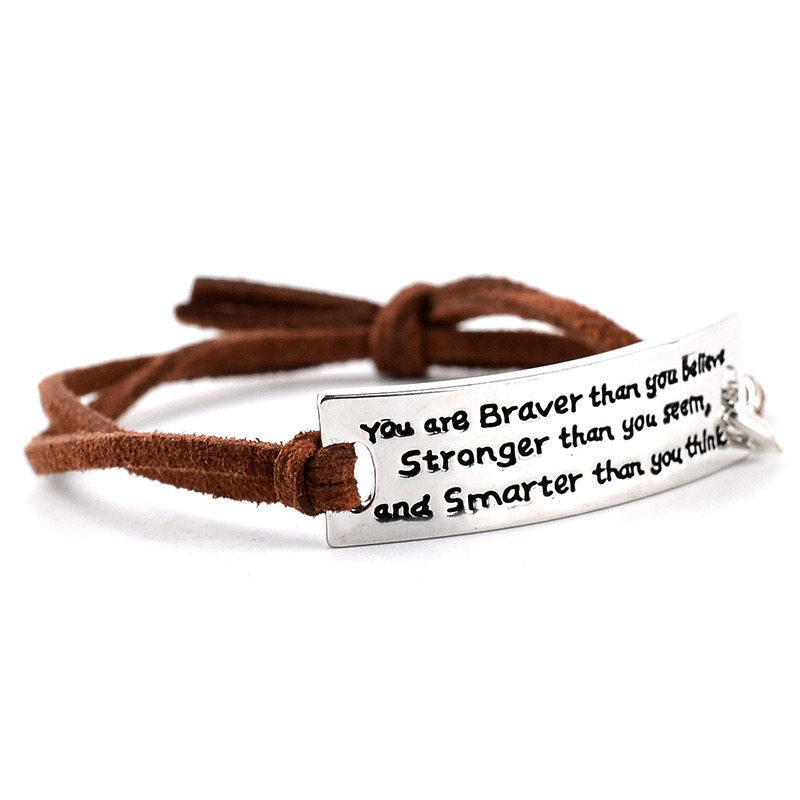 Motivational Leather Bracelet - Inspirational Charm Bracelet Fitness Motivation Jewelry for Women Mens - Inspiration Message Words Charm Leather Bracelet