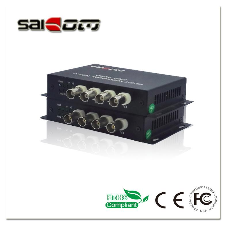 4CH Video+1CH Data(RS485), Single Fiber, Digital Video Optical Converter