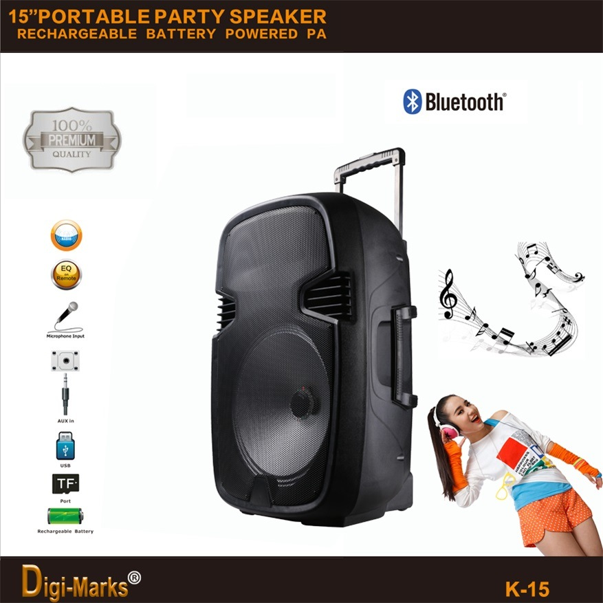 PA Mini Trolley Active Wireless Portable Mobile Bluetooth DJ Speaker