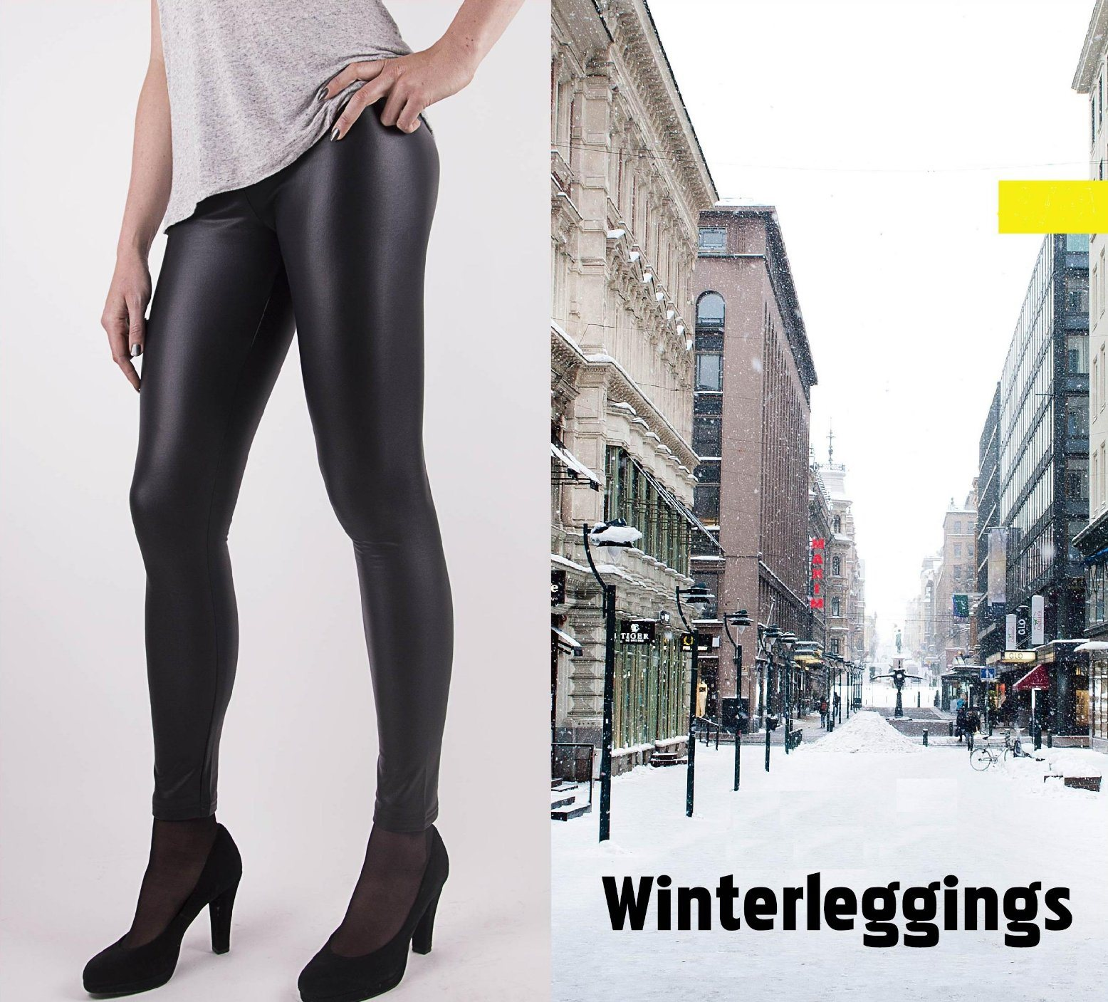 2017 Women′s Fitted PU Warmwinter Leggings with Leather Look