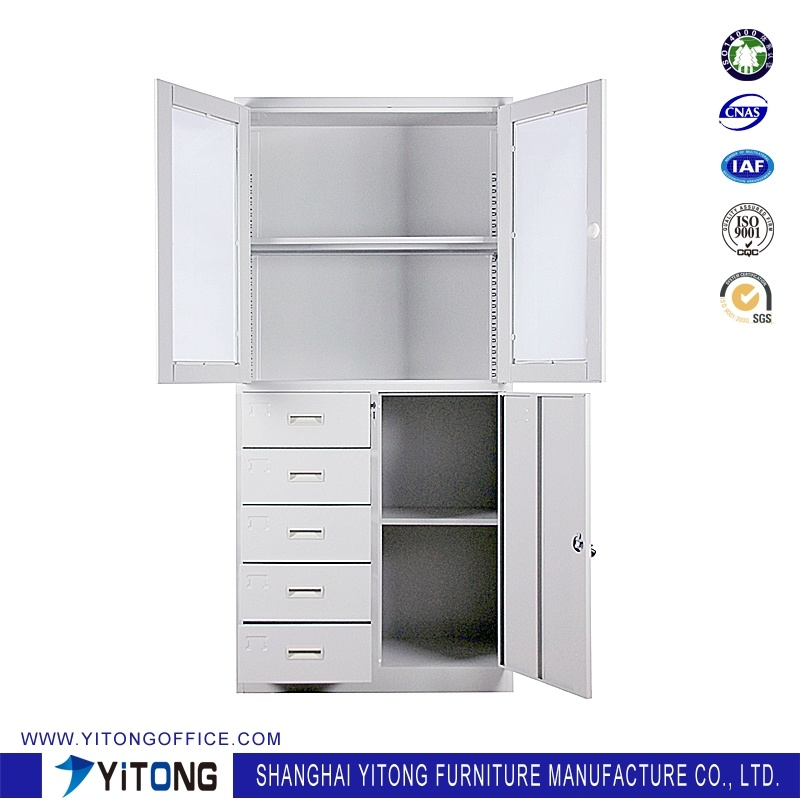 3-Door 5-Drawer Metal Storage Cabinet / Office Use Steel File Cabinet