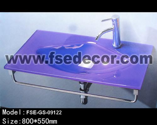 China Purple Tempered Galss Bathroom Vanity Sink Bowl (FSE-GS-09122 ...