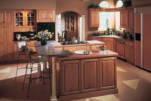 Solid Wood Kitchen Cabinet JZ W010 تصميمات و ديكورات مطابخ خشب و المنيوم حديثة للمطابخ الواسعة