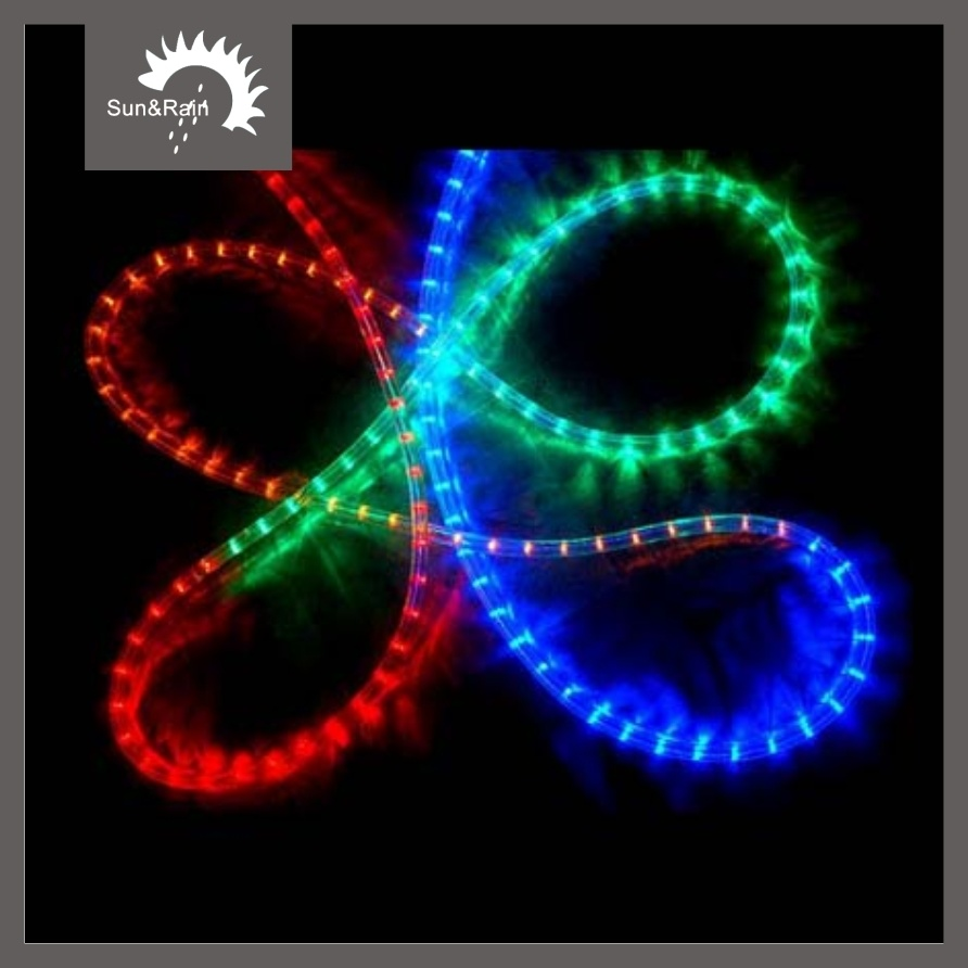 Hoting christmas decoration light led rope light round 2 wires full color