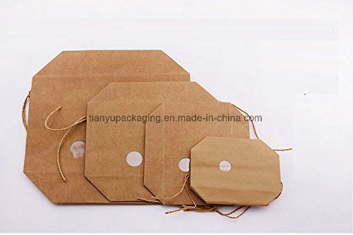 Pack Nature Kraft Paper Food Carrier Bag Stand up Bakery Pouchwindow & Knitting Cord for Tea Leaves Rice Specialty Nuts Gifts