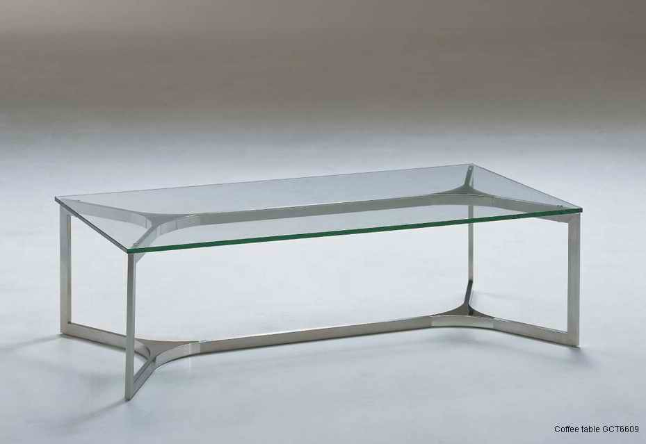 China Stainless Steel Rectanglar Coffee Table With Clear Glass Gct6609 China Coffee Table