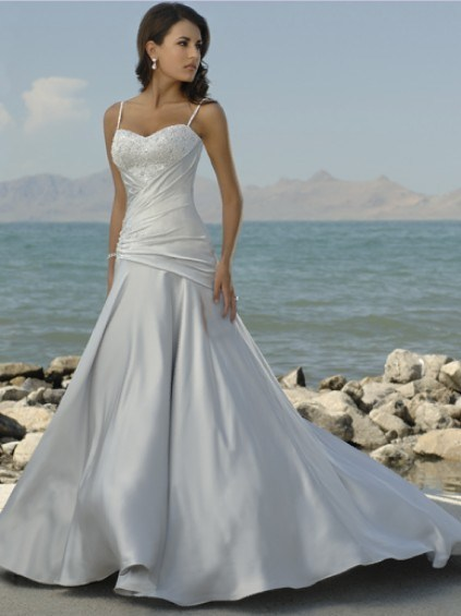 China 2011 Simple Spagetti Straps Beach Wedding Dresses