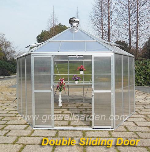 Hexagonal Greenhouse, Double Sliding Door or Hinged Door, Stronger Frame, Large Size