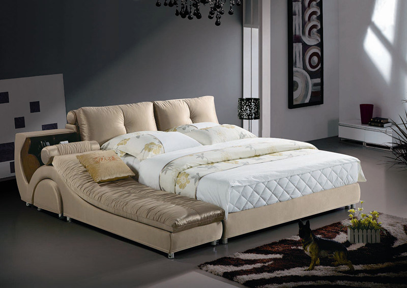 china modern double upholstered bedroom home bed with storage l851