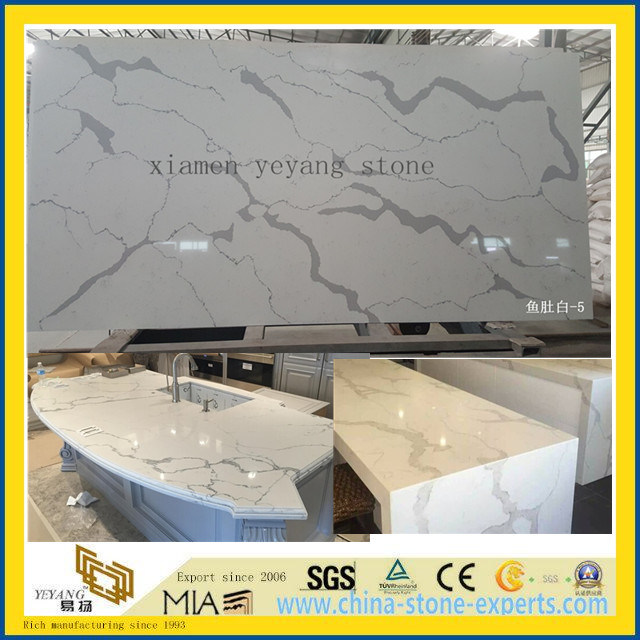 Calacatta White Quartz for Bathroom & Kitchen Countertop