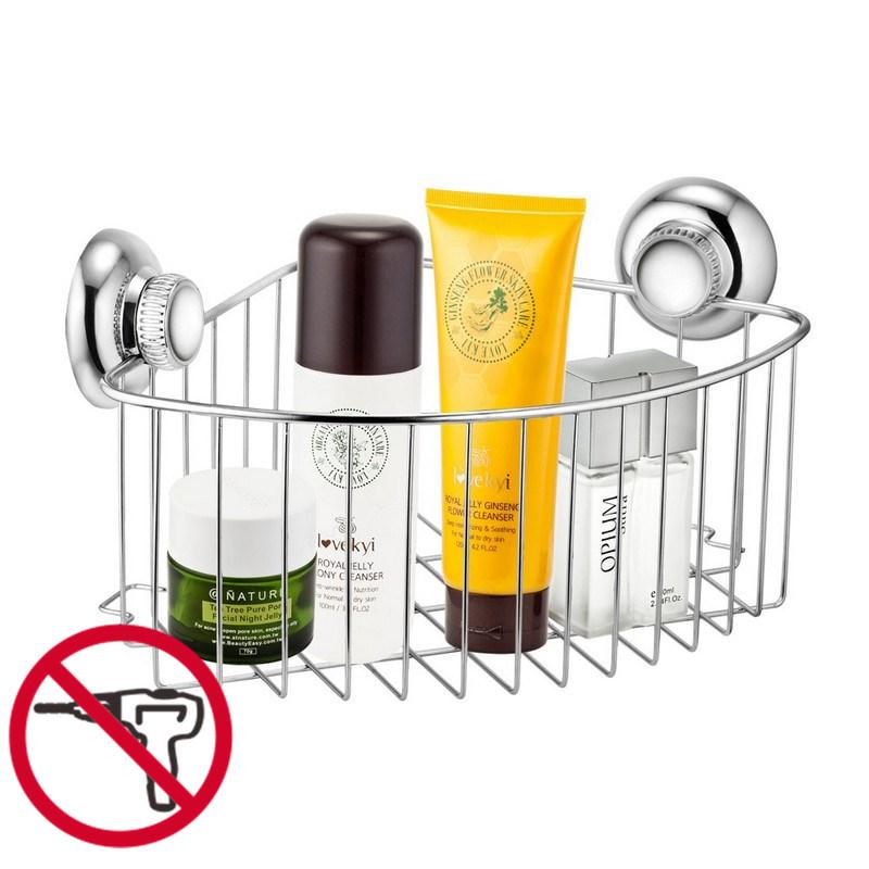 Suction Stainless Steel Bathroom Corner Basket