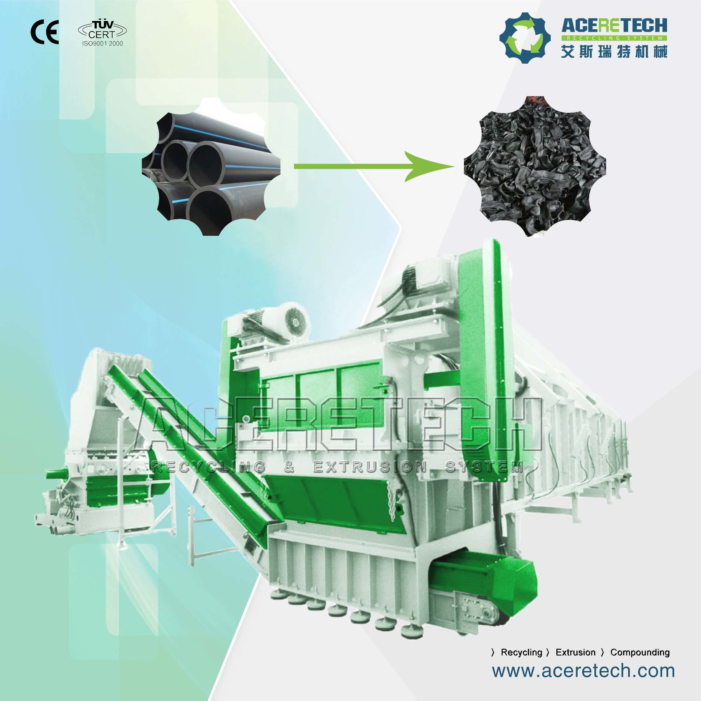 Single Shaft Pipe Shredder Machine