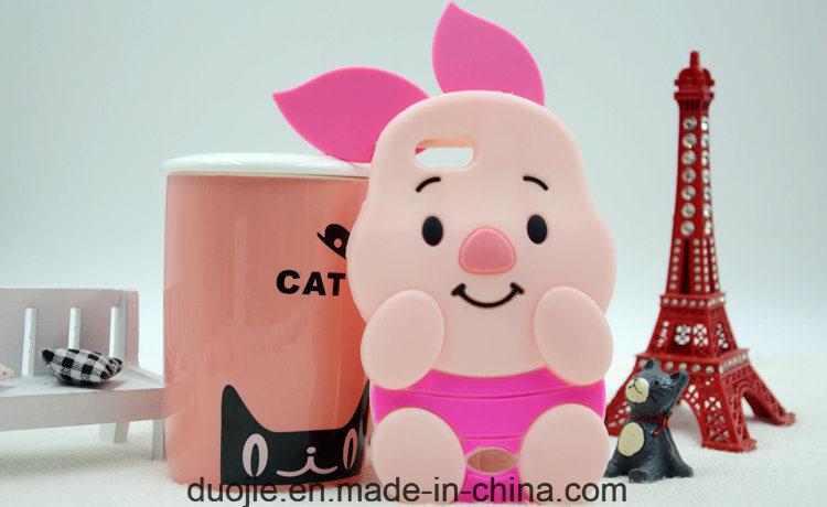 3D Pig Cartoon Anti-Scratch Silicone Case for iPhone 6s / 7plus J7prime J5prime Phone Accessories (XSDW-002)