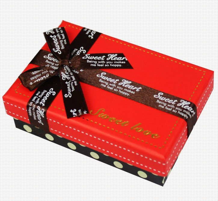 Custom Chocolate Cardboard Paper Gift Box with Ribbon