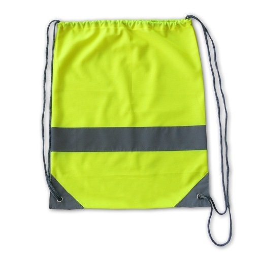 Lime Green Promotional Reflective Strap Drawstring Bags