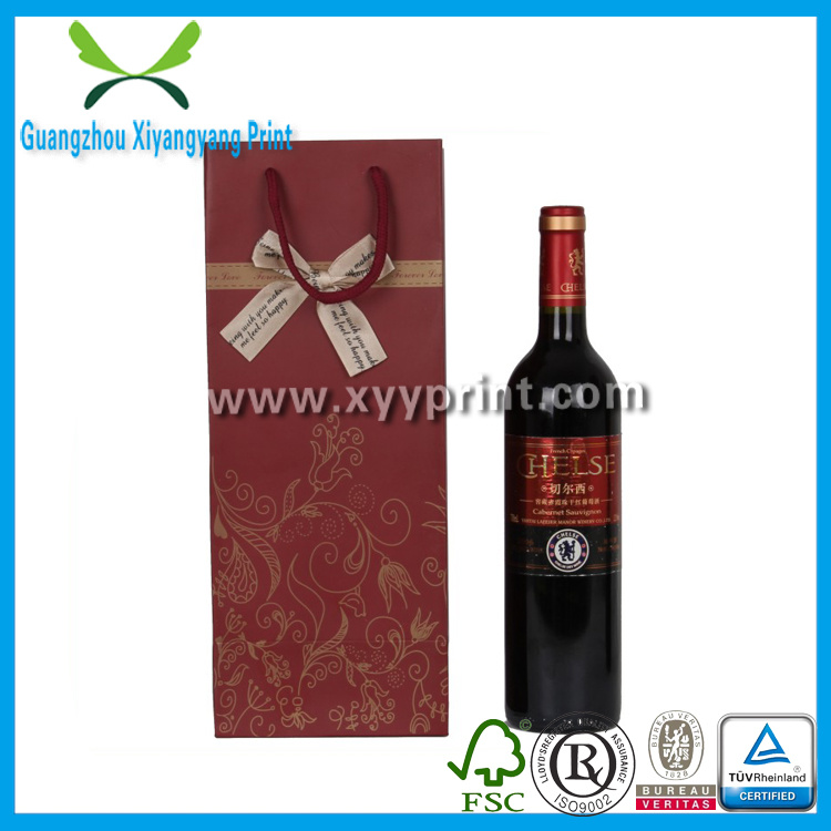 Custom Logo Print Craft Paper Wine Shopping Bag with Handle