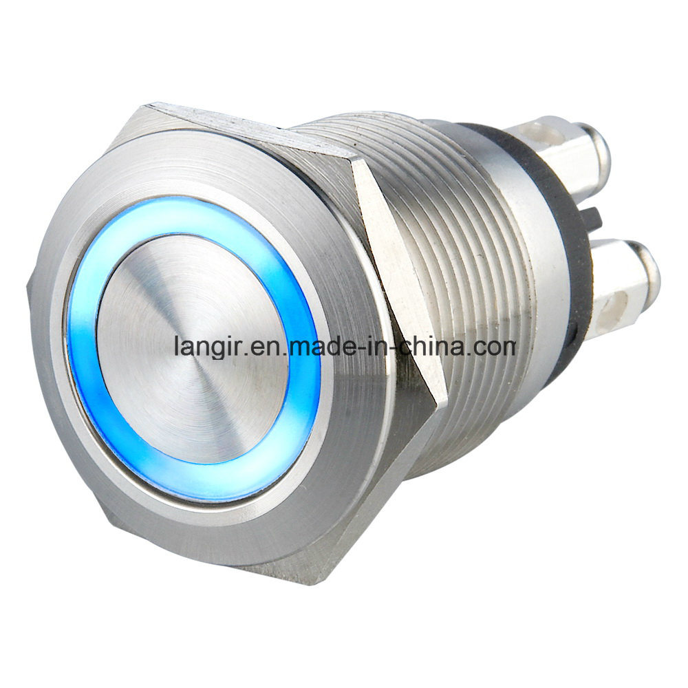 19mm Micro Trip 12V Ring Illumination Waterproof Pushbutton Switch