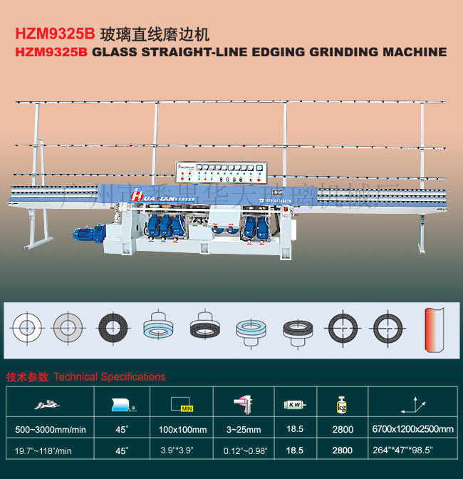 Hzm9325b Glass Straight-Line Edge Processing Machine Manufacturer Tn80