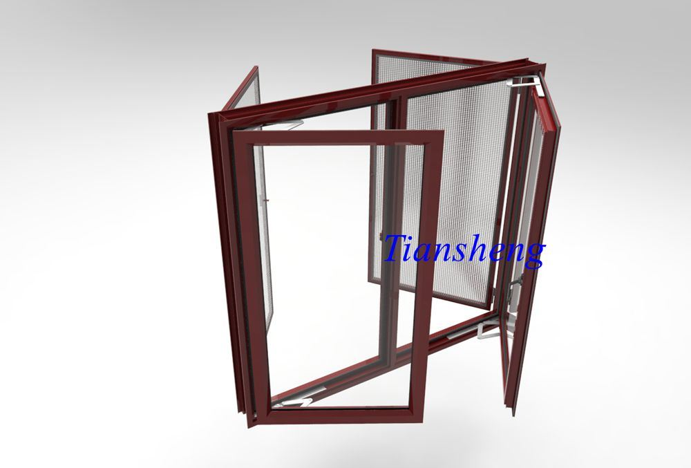 Customized Aluminum Casement Window with Mosquito Net
