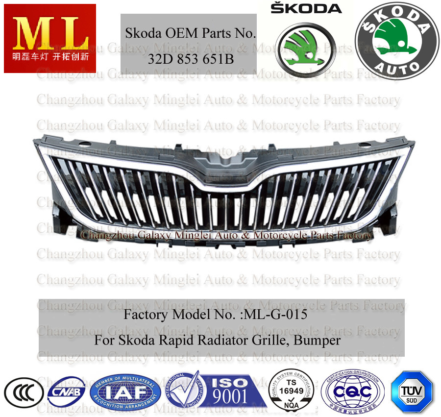 Car Grille for Skoda Rapid From 2012 (32D 953 651B)